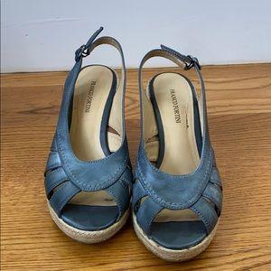 Gray Peep-Toe Wedge Sandals